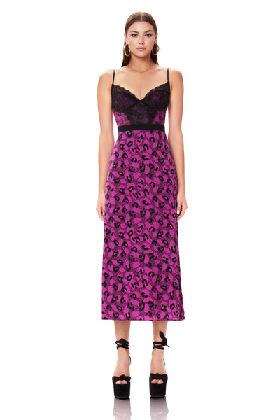 Bruna Lace Detail Midi Dress - Violet Animal