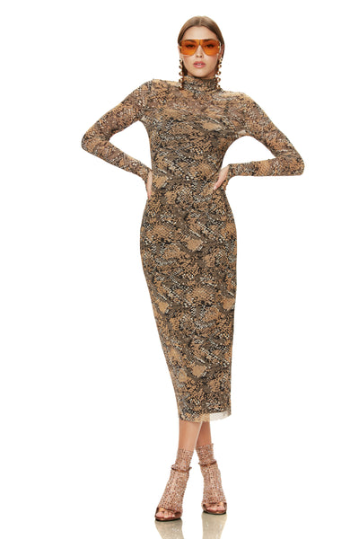 Shailene Mesh Dress - Golden Snake
