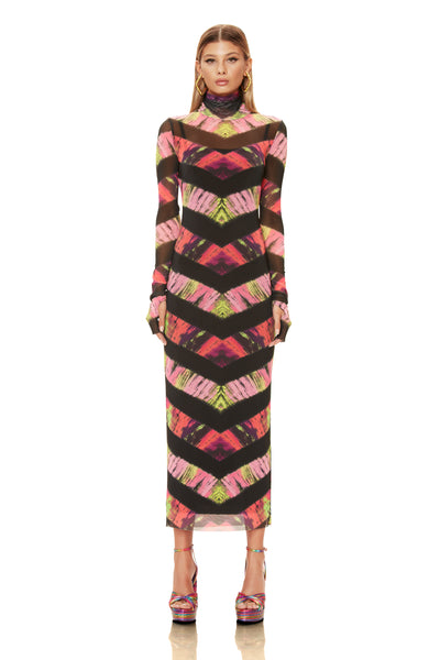 Shailene Mesh Dress - Pink Chevron Tie Dye