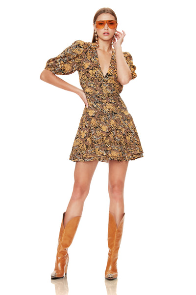 Camilla Smocked Mini Dress - Golden Snake