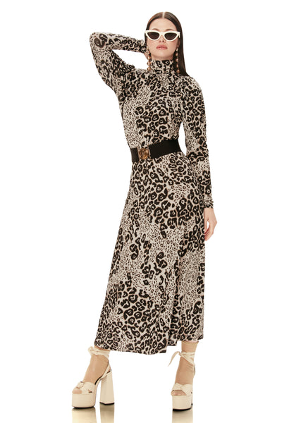 Poppy Knit Turtleneck Midi Dress - Leopard Patchwork