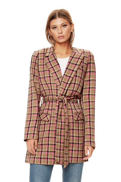 Cosa Blazer - Pink Plaid