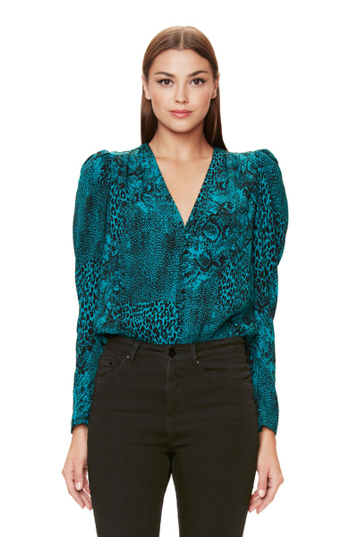 Rexy Button Front Bodysuit - Teal Animal