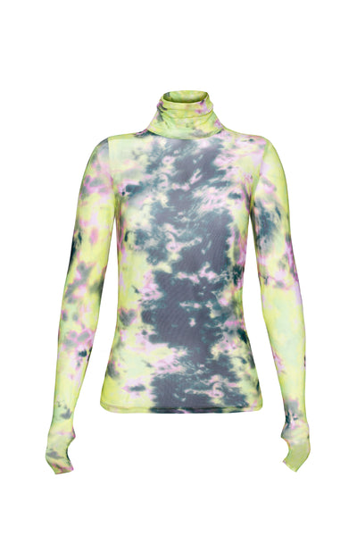 Zadie Turtleneck Pullover with Thumb Holes - Limelight Tie Dye