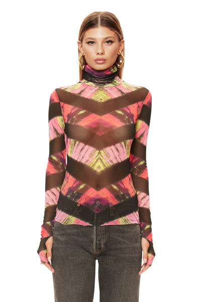 Zadie Power Mesh Turtleneck Top - Pink Chevron Tie Dye