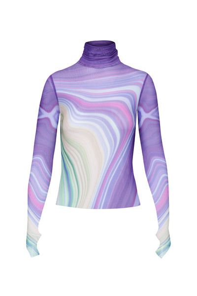 Zadie Power Mesh Turtleneck Top - Abstract Wave