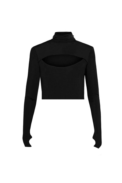 Conner Cropped Turtleneck Top - Noir