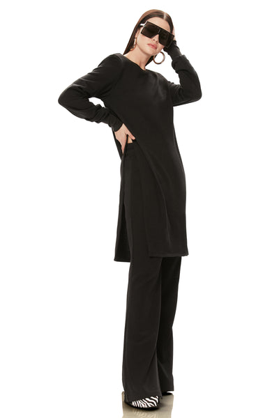 Davis Side Slit Tunic - Noir