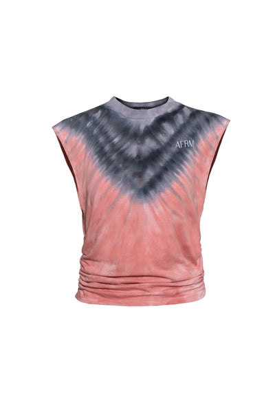 Billie Muscle Tee - V-Placement Tan Tie-Dye