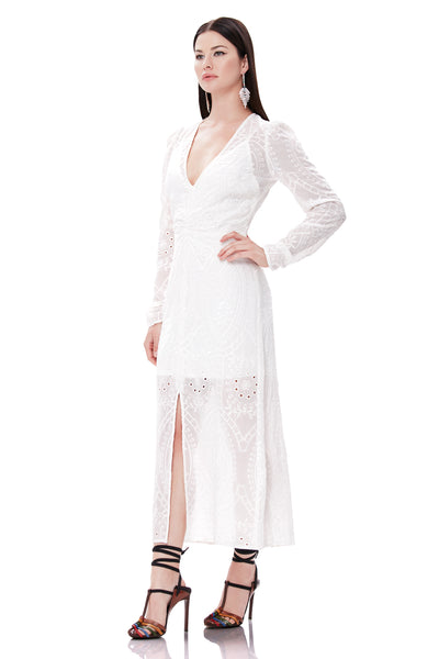Madsen Ruched Midi Dress - Blanc