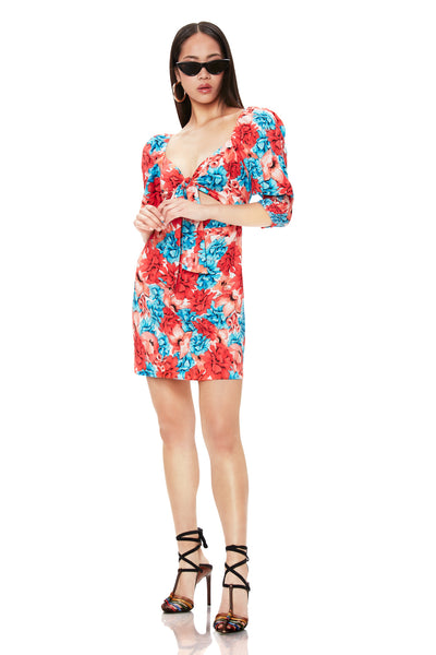 Mila Tie Front Mini Dress - Rouge Floral