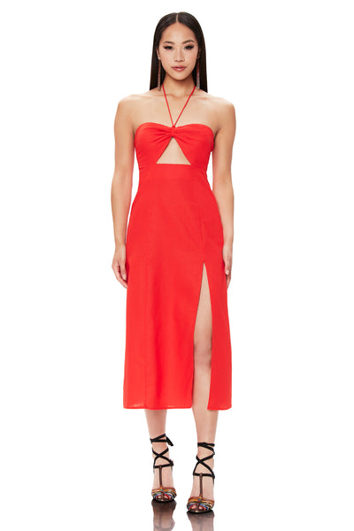 Wynn Cutout Midi Dress - Fiery Red