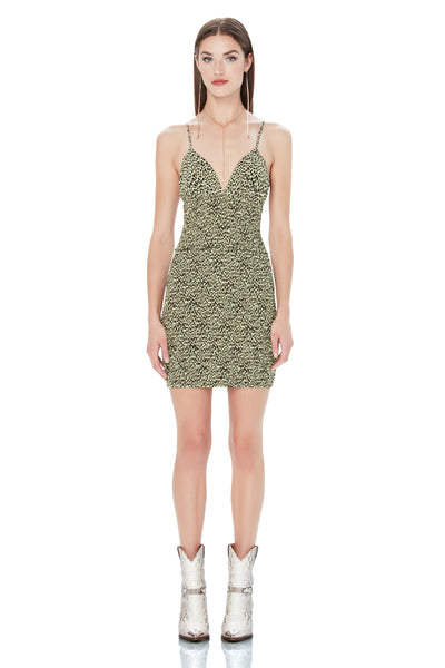 Lesly Smocked Mini Dress - Limelight Leopard