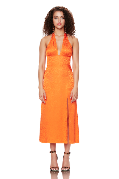 Orange Leopard Jacquard