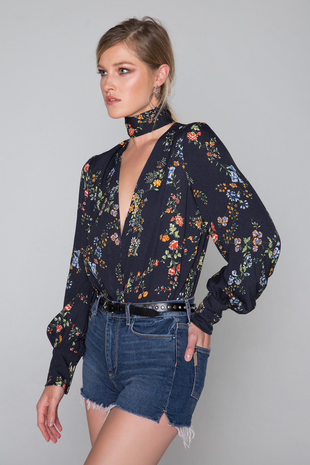 Sofie Plunging Bodysuit with Neck Tie
