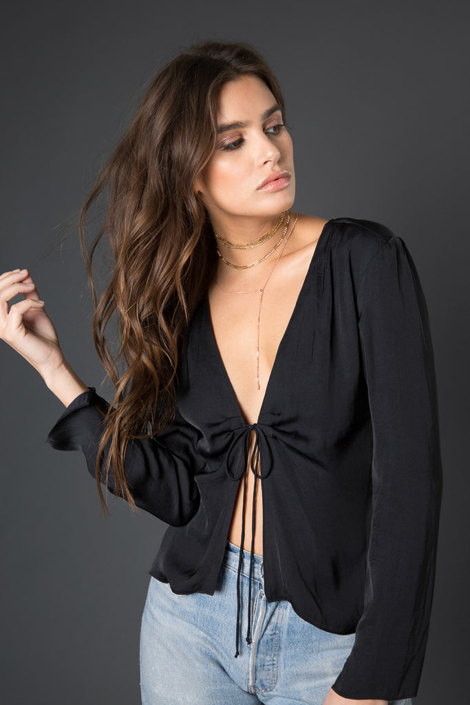 Gia Plunging Tie Front Top