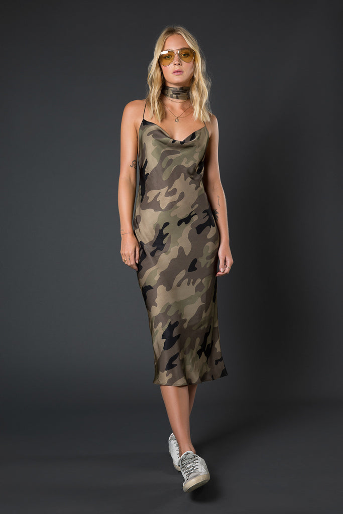 Sloan Slip Midi Dress with Neck Tie