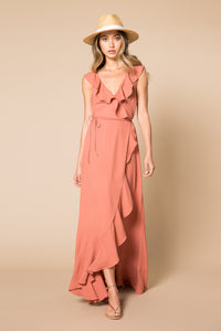 Wade Ruffle Maxi Wrap Dress