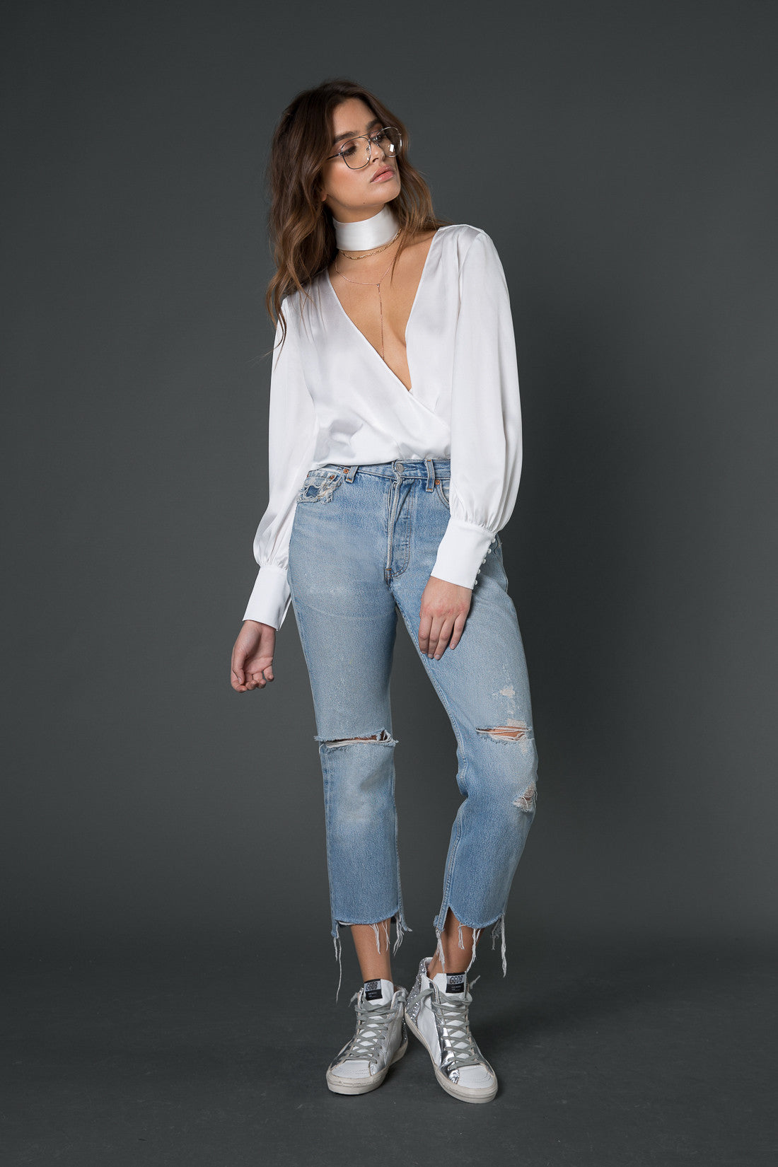 Jules Plunging Bodysuit with Neck Tie