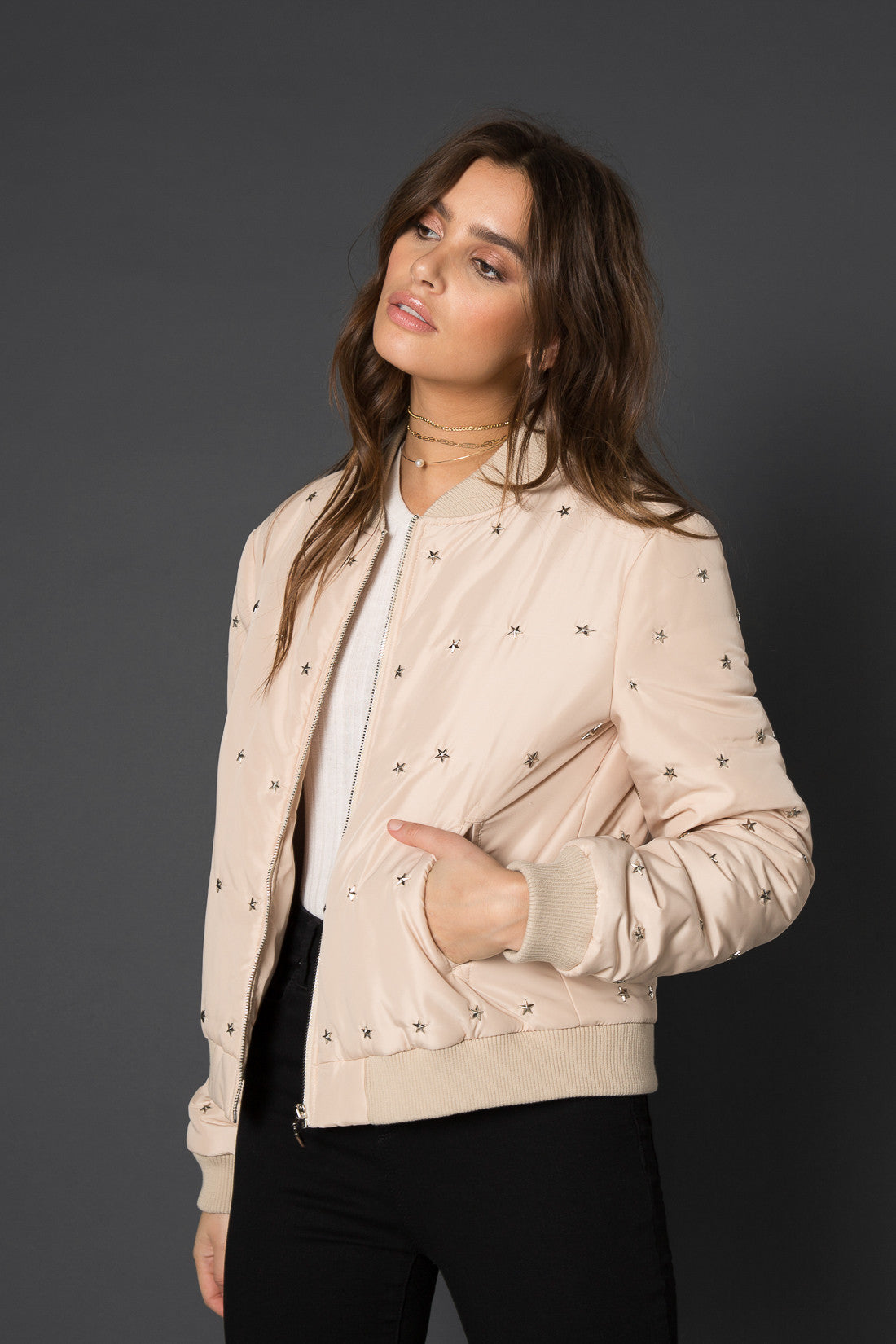 Romee Star Studded Bomber Jacket