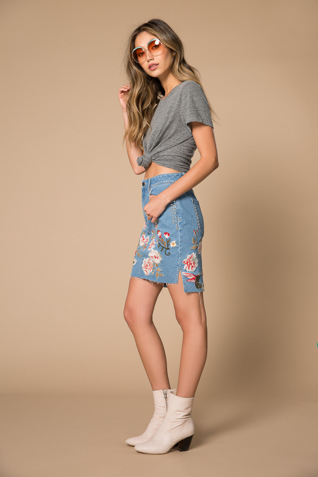 Quincy Floral Denim Skirt