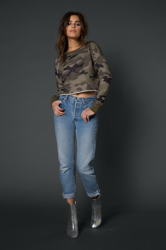Baxter Cropped Distressed Sweathirt