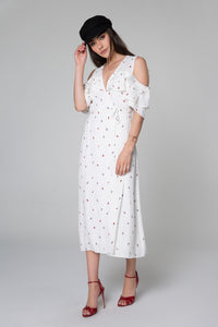 Daisy Ruffle Cold Shoulder Midi Dress