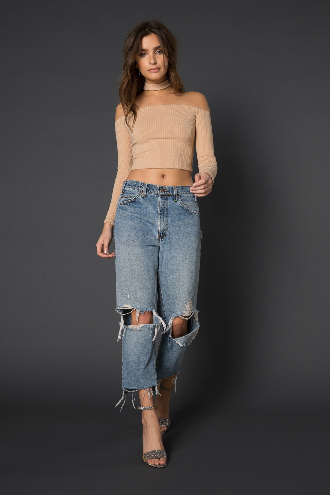Zuri Ribbed Crop Top with Choker