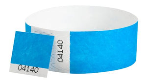 "Tyvek 1"" Detachable Stub Wristbands - Neon Blue"