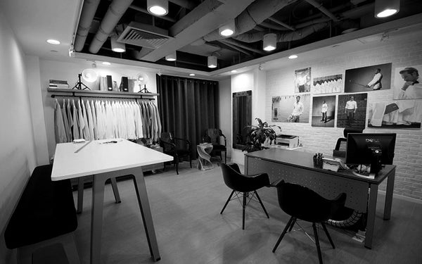 Black and White of MILK Shirts Showroom in Hong Kong