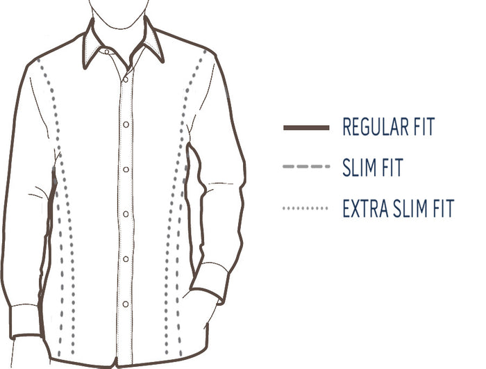 Regular, Slim and Extra-Slim Fit for Custom Made-to-Measure Men's Dress Shirt