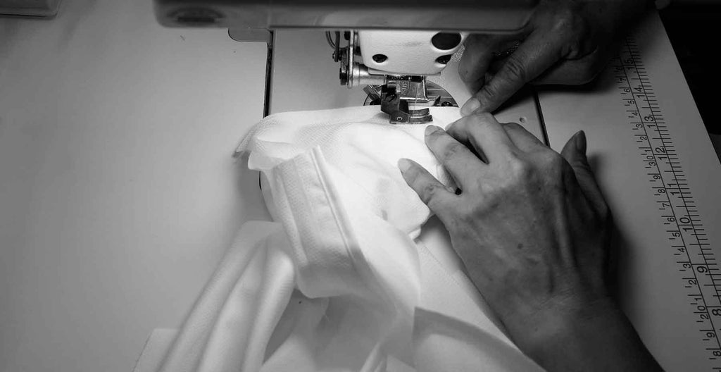 Tailor stitching white dress custom made-to-measure men's shirt from MILK Shirts