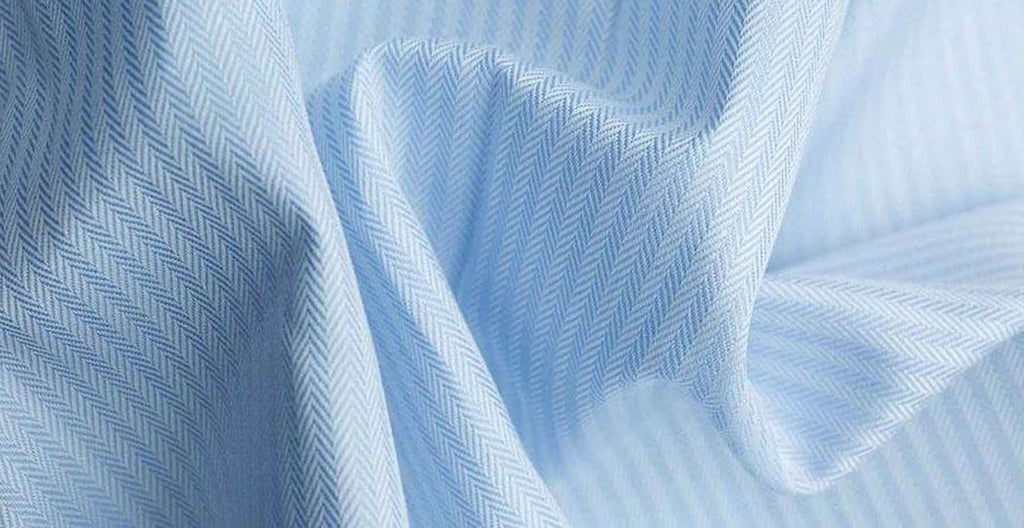 light blue herringbone pattern custom made-to-measure shirt fabric from MILK Shirts