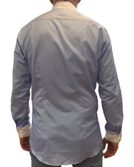 Back View of Man Being Fitted by Tailor for Blue Custom Made-to-Measure Shirt