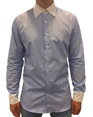 Front View of Man Being Fitted by Tailor for Blue Custom Made-to-Measure Shirt