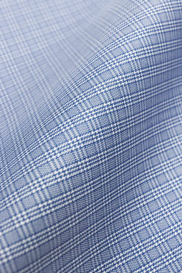 Strata 120s Blue Multi Check Twill Fabric
