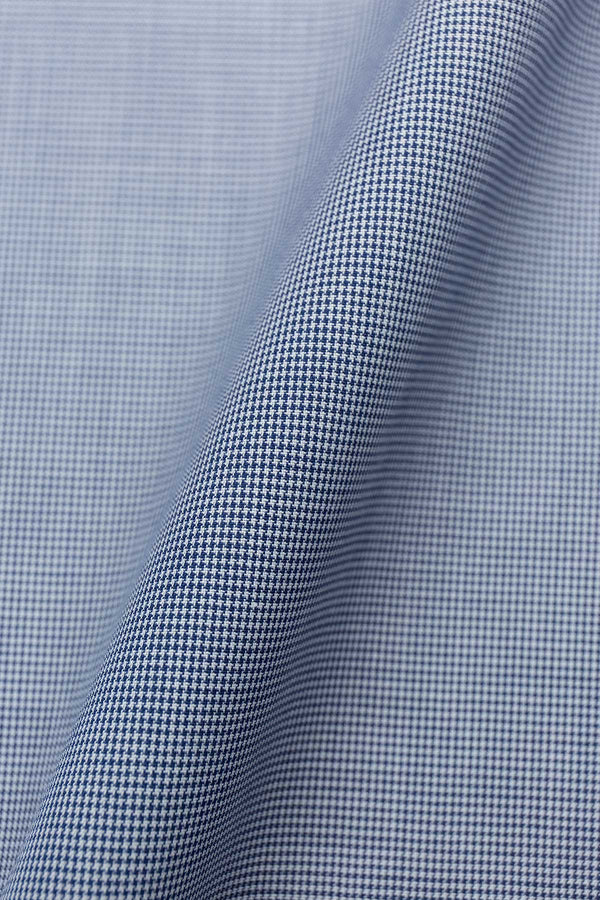 Avant 120s Ink Blue Mini Houndstooth Fabric