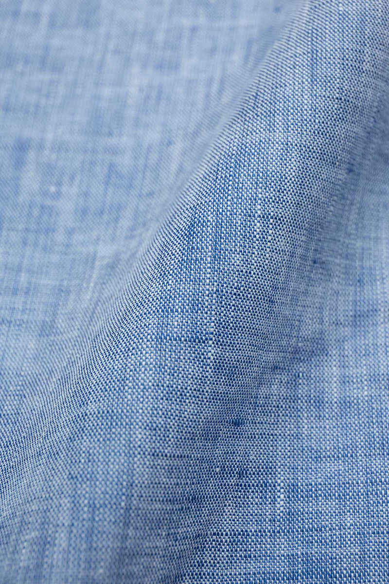 Azure Dark Blue Linen Fabric