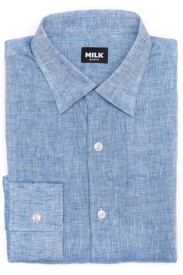 Azure Dark Blue Linen Shirt