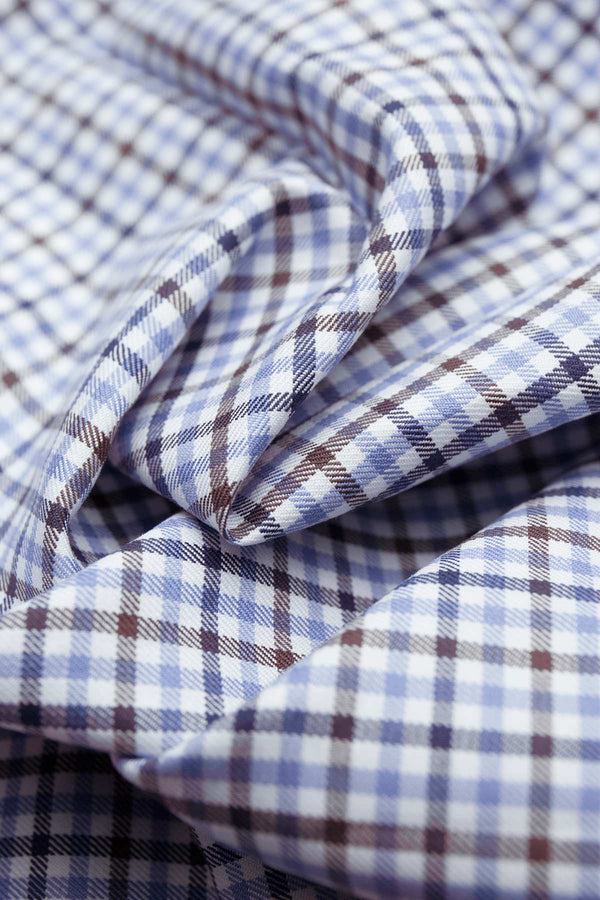 Doresa 100s Brown Blue Check Fabric