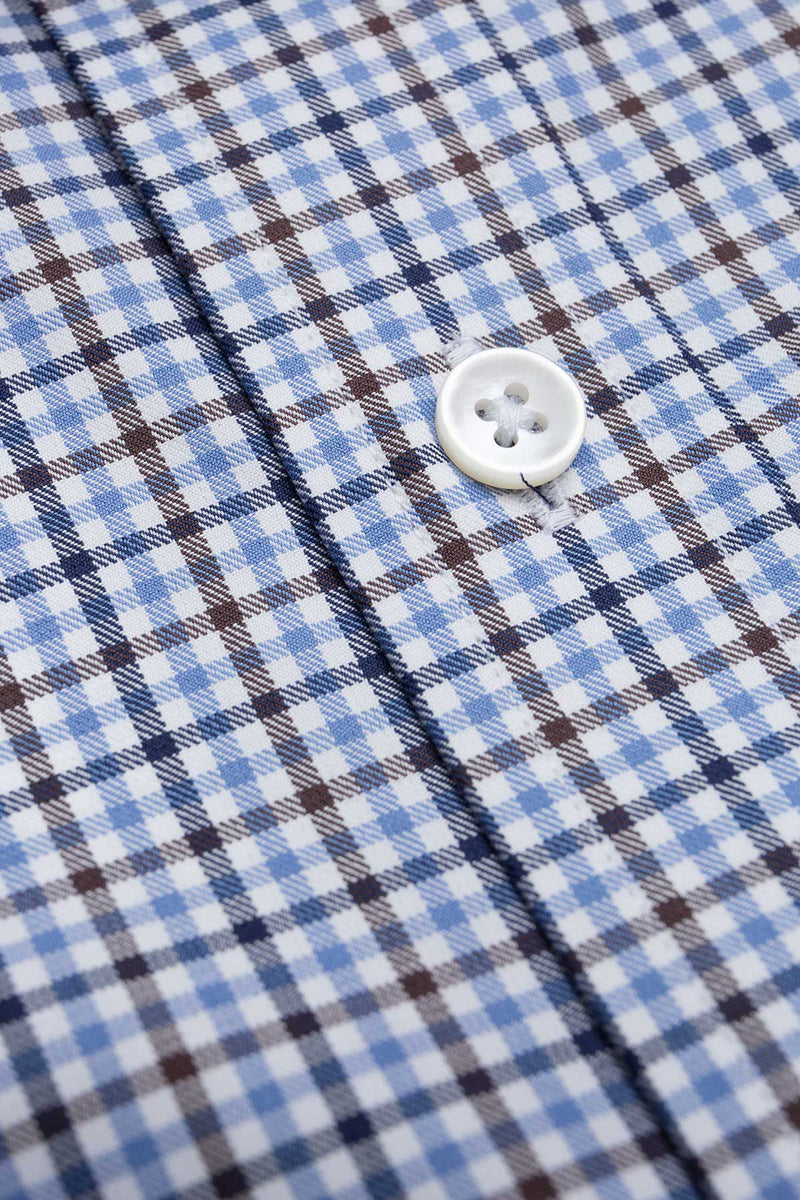 Doresa 100s Brown Blue Check Shirt