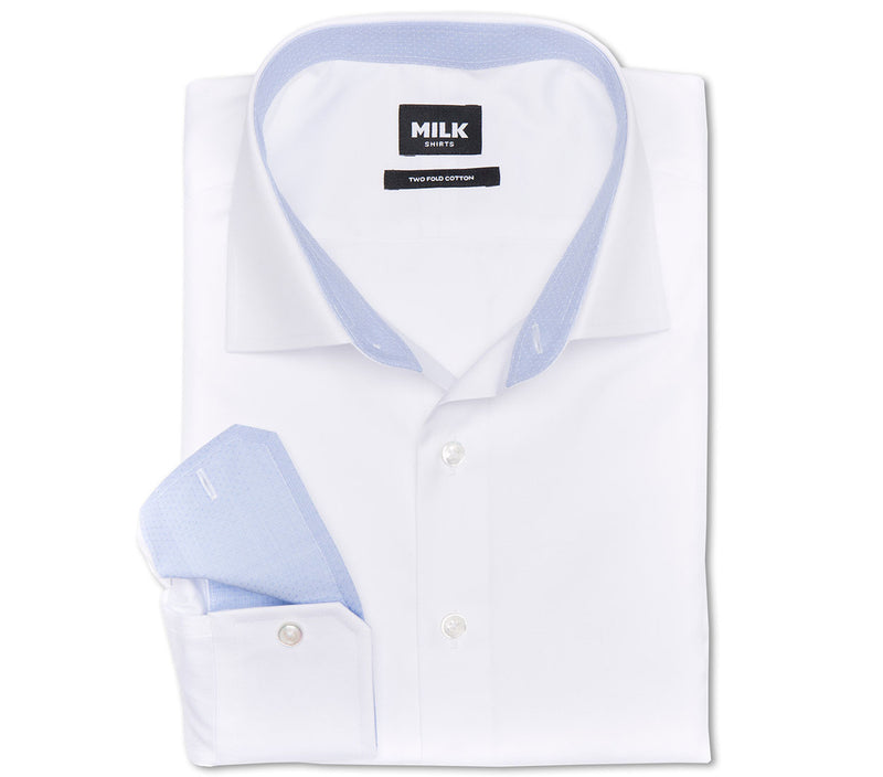 Lux 80s White Pinpoint with contrast Shirt