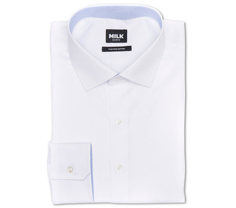 White Men's Dress Shirt with Blue Inner Collar from MILK Shirts with Spread Collar, Angled Button Cuffs and Front Placket
