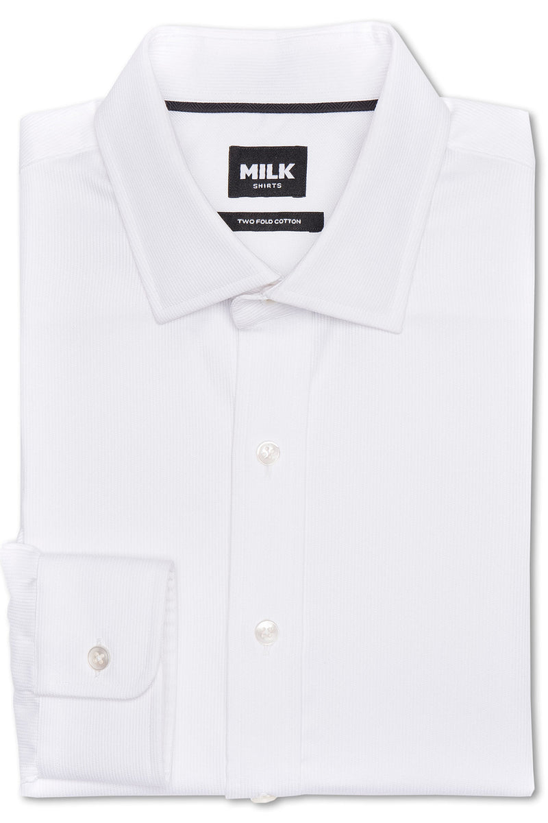 Mason White Ribbed Piquet Shirt