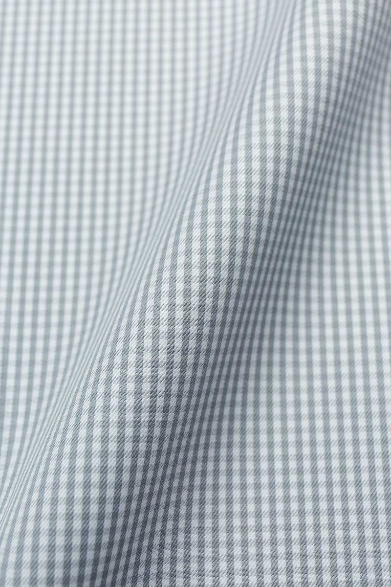 Mercury 100s Grey Gingham Fabric