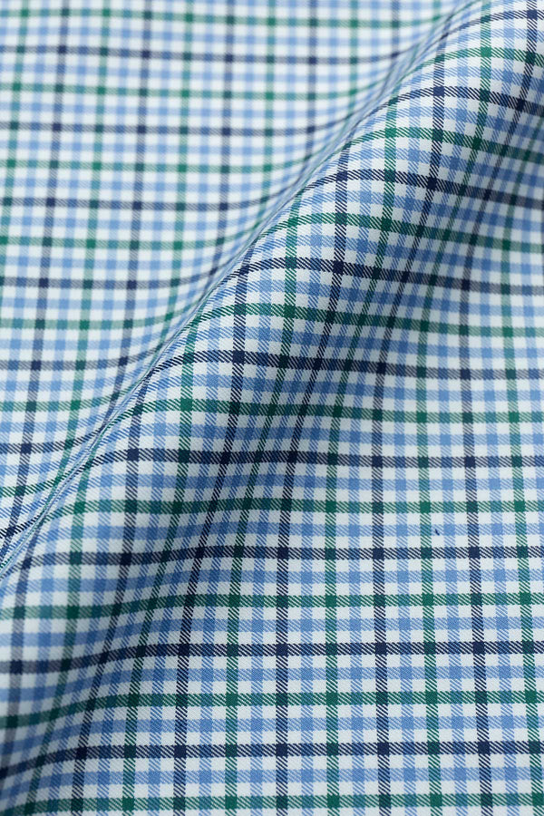 Natalia 100s Green Blue Check Fabric