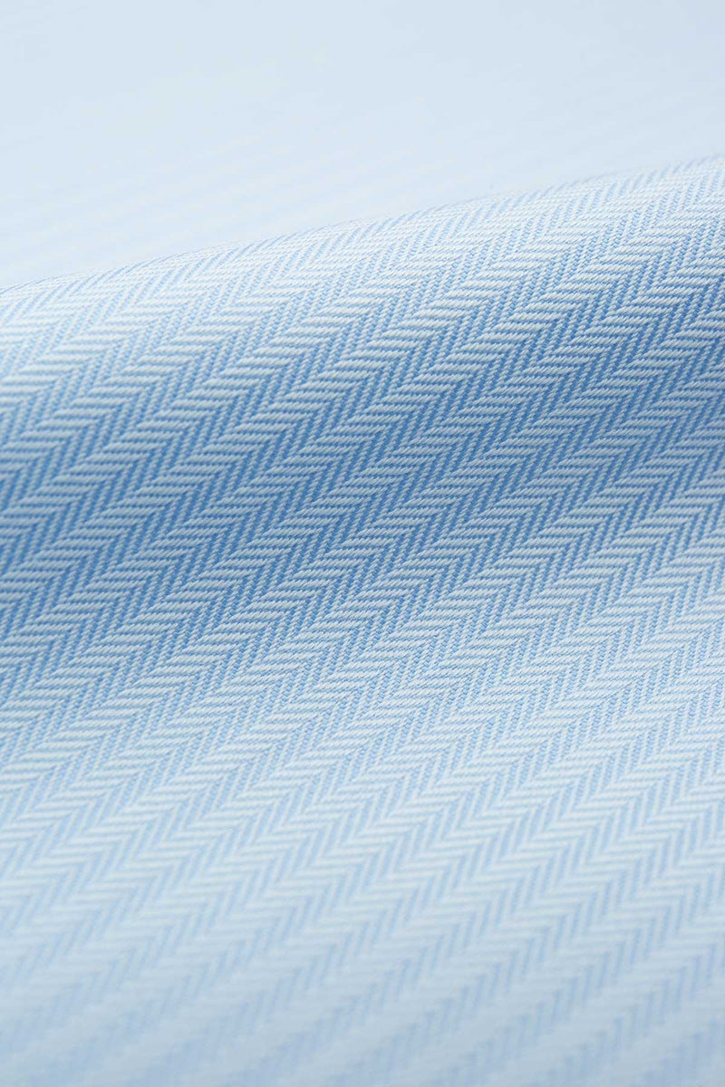 Zebra 80s Blue Herringbone Fabric