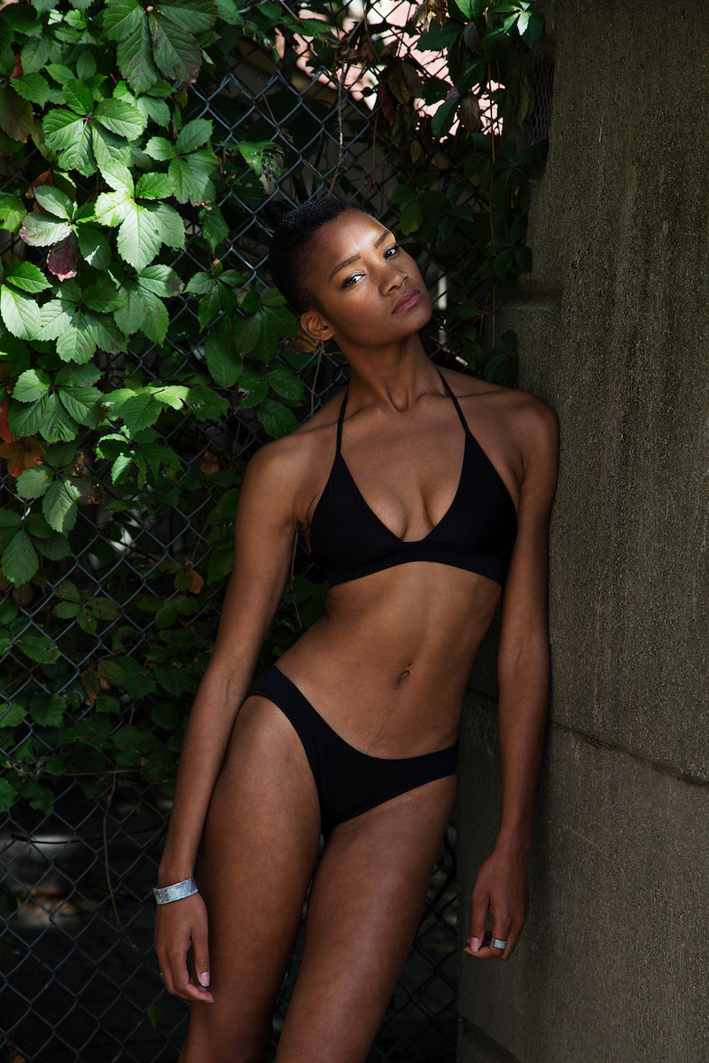 Black bikini, low waisted bikini bottoms, Minnow 2016 Collection