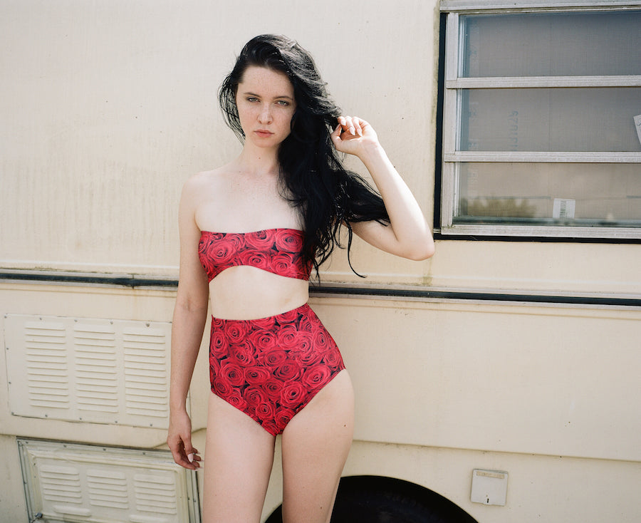 Printed bikini, high-waisted bottoms, Minnow Bathers 2015 Collection