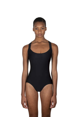 Black maillot swimsuit, cross-back swimsuit